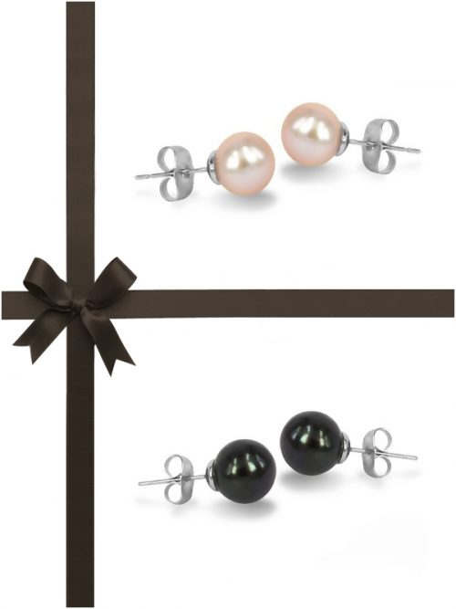 MARIA-THERESA REEF COLLECTION Pink and Black Pearl Stud Earring Gift Set