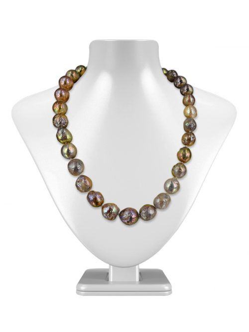 MAUNA LOA COLLECTION METALLIC MULTICOLOR RIPPLE PEARL 11-14MM NECKLACE