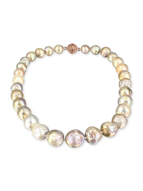 PACIFIC PEARLS MAUNA LOA COLLECTION Metallic Multicolor 11-14mm Ripple Pearl Necklace