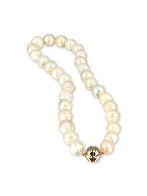 MAUNA LOA COLLECTION Metallic White 11 – 14mm Ripple Pearl Necklace