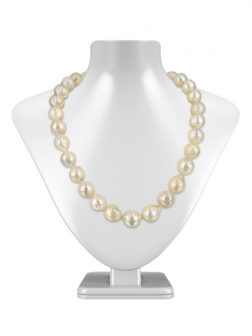 PACIFIC PEARLS WAIKIKI COLLECTION Metallic White 11-14mm Ripple Pearl Necklace