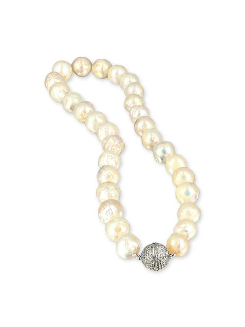 PACIFIC PEARLS MAUNA LOA COLLECTION Metallic White 11-14mm Ripple Pearl Necklace