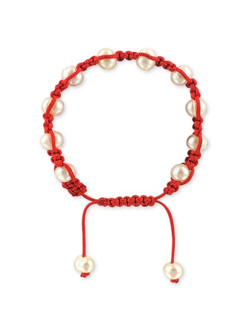 MERMAID BEACH COLLECTION 7-9mm Candy Cane Pearl Friendship Bracelet
