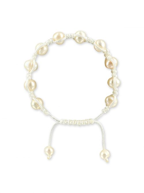 MERMAID BEACH COLLECTION 7-9mm Lace Pearl Friendship Bracelet