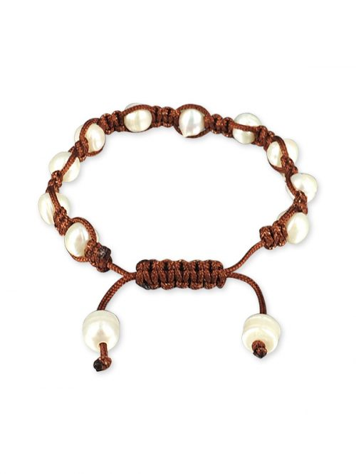 PACIFIC PEARLS MERMAID BEACH COLLECTION Coconut Shamballa Pearl Bracelet