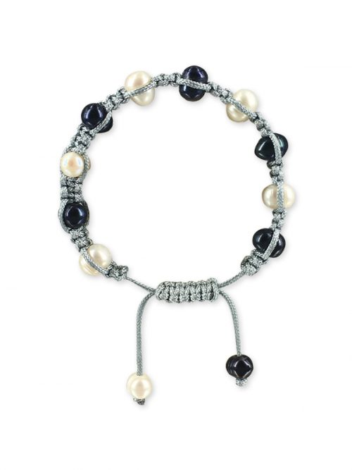 PACIFIC PEARLS MERMAID BEACH COLLECTION Denim Shamballa Pearl Bracelet
