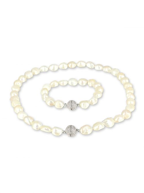 PACIFIC PEARLS MERMAID BEACH COLLECTION Foam Souffle Pearl Versatile Necklace and Bracelet Set