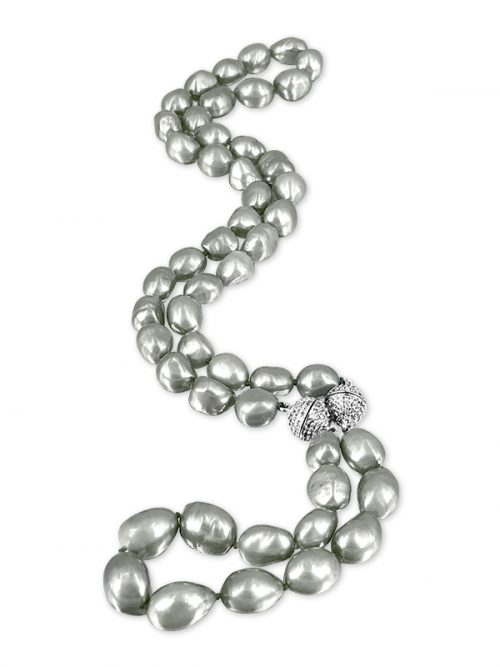 PACIFIC PEARLS MERMAID BEACH COLLECTION Old Silver Soufflé Pearl Versatile Necklace & Bracelet Set
