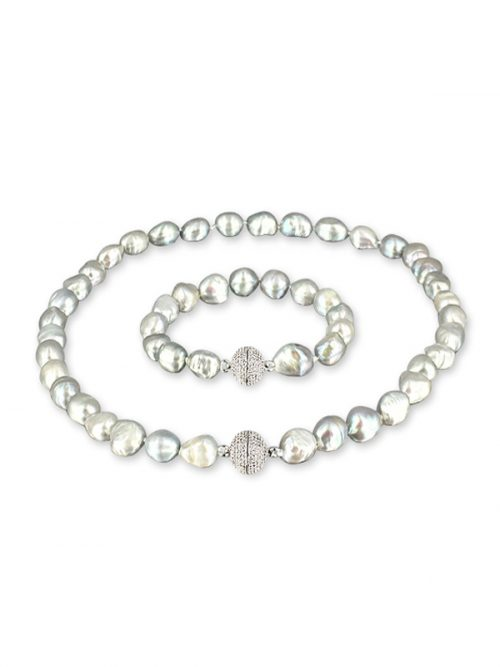 PACIFIC PEARLS MERMAID BEACH COLLECTION Old Silver Souffle Pearl Versatile Necklace and Bracelet Set