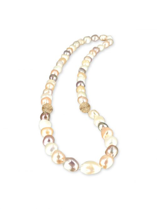 PACIFIC PEARLS MERMAID BEACH COLLECTION Summer Sunrise Souffle Pearl Versatile Necklace and Bracelet Set