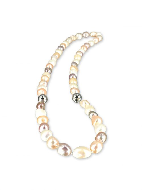 MERMAID BEACH COLLECTION Versatile Pastel Souffle Pearl Necklace and Bracelet Set