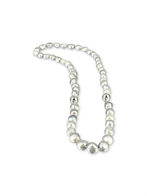MERMAID BEACH COLLECTION Versatile Silver-Gray Souffle Pearl Necklace and Bracelet Set