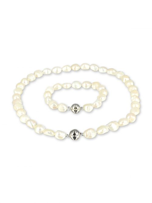 MERMAID BEACH COLLECTION White Souffle Pearl Versatile Necklace and Bracelet Set