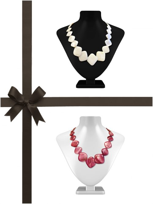 OYSTER BAY COLLECTION DUSTY ROSE AND VANILLA MOTHER-OF-PEARL NECKLACE