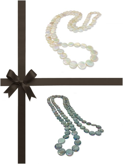 OYSTER BAY COLLECTION IVORY AND MERMAID GREEN MOTHER-OF-PEARL NECKLACE GIFT SET