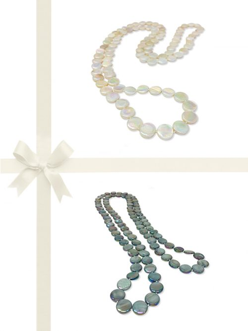 PACIFIC PEARLS OYSTER BAY COLLECTION Ivory and Mermaid Green Mother-of-Pearl Necklace Gift Set