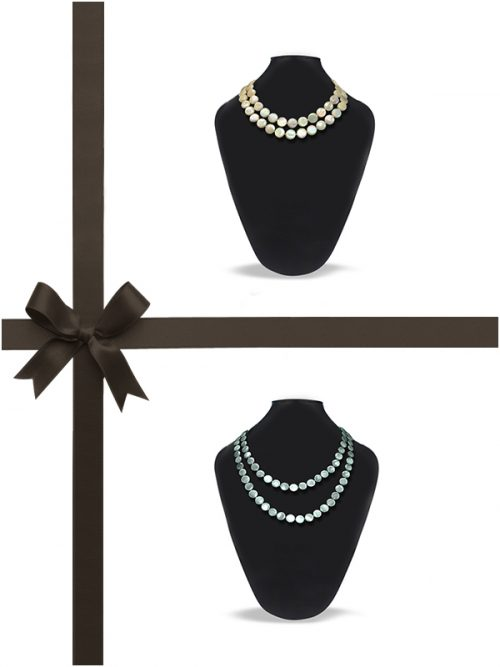 OYSTER BAY COLLECTION MERMAID GREEN AND IVORY MOTHER-OF-PEARL NECKLACE GIFT SET