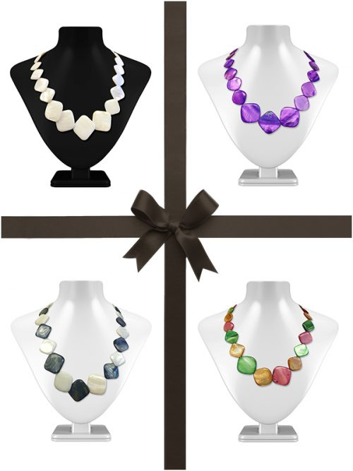 OYSTER BAY COLLECTION SQUARE MOTHER-OF-PEARL NECKLACE FOUR-PIECE GIFT SET