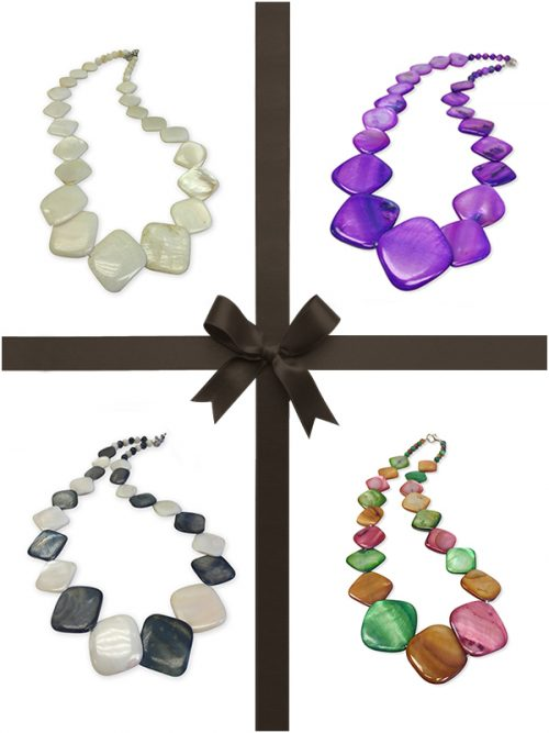 OYSTER BAY COLLECTION SQUARE MOTHER-OF-PEARL NECKLACE GIFT SET