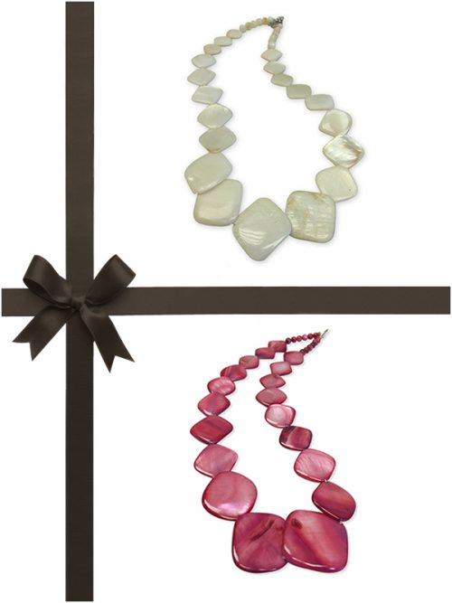 OYSTER BAY COLLECTION VANILLA AND DUSTY ROSE MOTHER-OF-PEARL NECKLACE