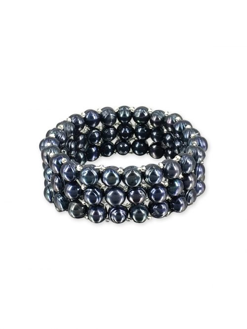PALLISER LAGOON COLLECTION Black Triple Strand Pearl Stretch Bracelet