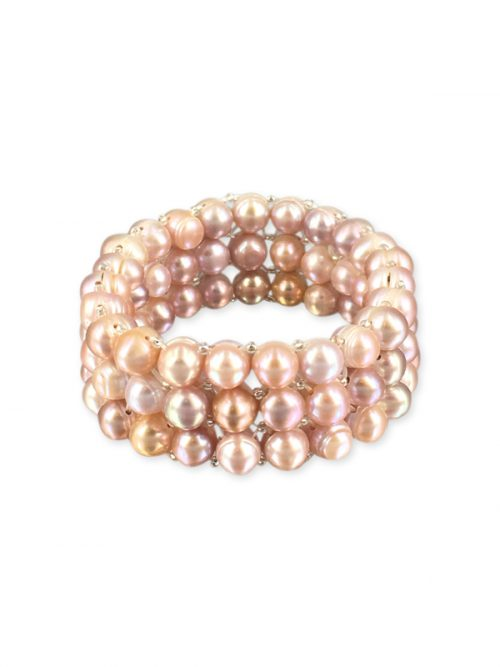 PALLISER LAGOON COLLECTION Pink Triple Strand Pearl Stretch Bracelet