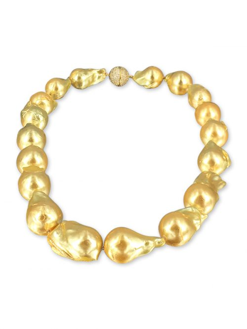 POLYNESIA COLLECTION 15-20mm Gold Giant Baroque Pearl Necklace