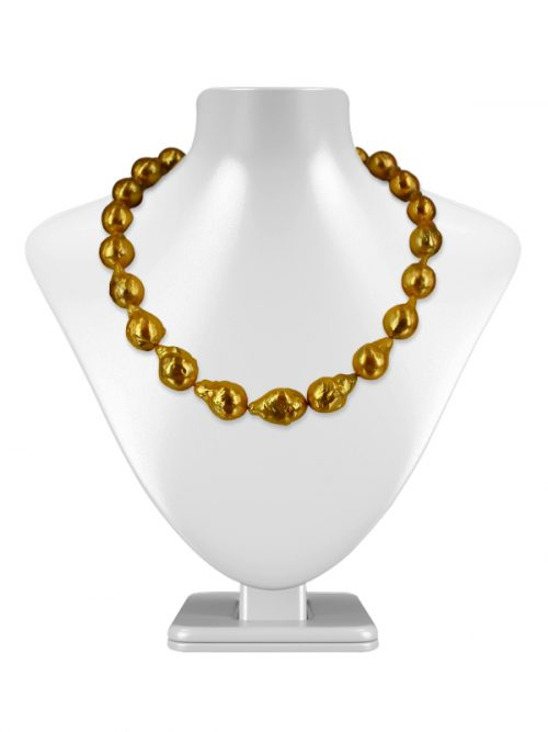 POLYNESIA COLLECTION GOLD BAROQUE 10-15MM PEARL NECKLACE