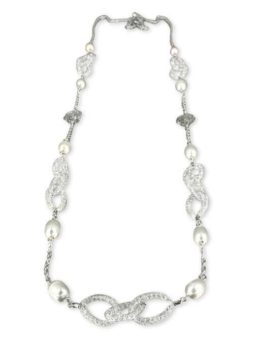 PACIFIC PEARLS ROSE ATOLL COLLECTION 14K White Gold Filled Silver_Gray Statement Necklace