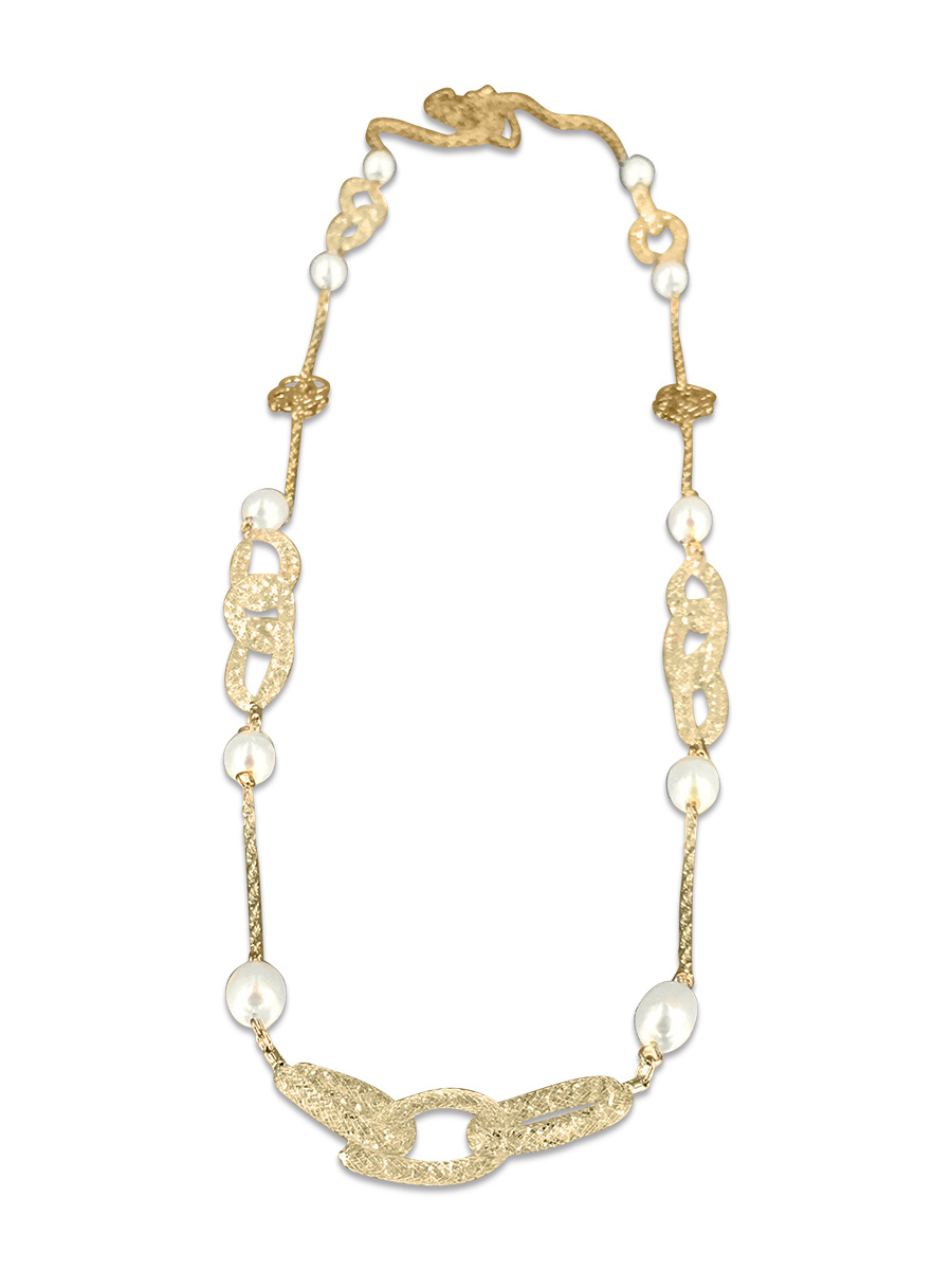 PACIFIC PEARLS ROSE ATOLL COLLECTION 14K Yellow Gold Filled Statement Necklace