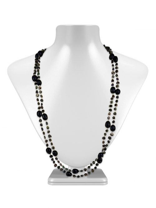 SULU SEA COLLECTION BLACK DOUBLE STRAND PEARL NECKLACE