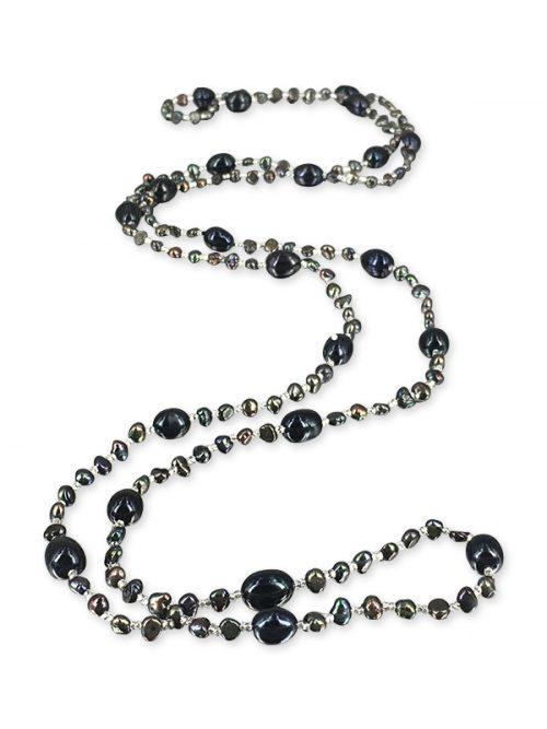 PACIFIC PEARLS SULU SEA COLLECTION Black Versatile Double Strand Pearl Necklace