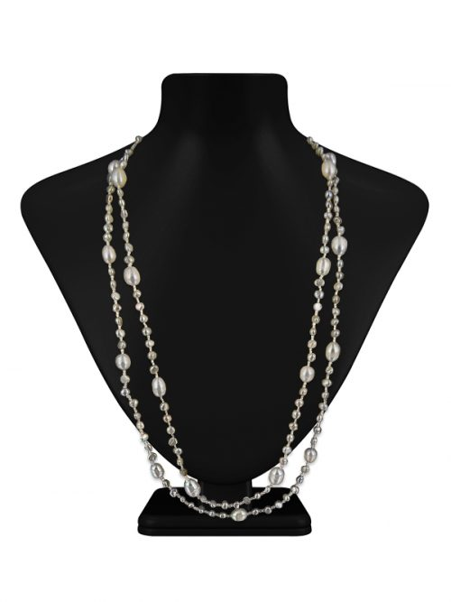 SULU SEA COLLECTION SILVER-GRAY DOUBLE STRAND PEARL NECKLACE