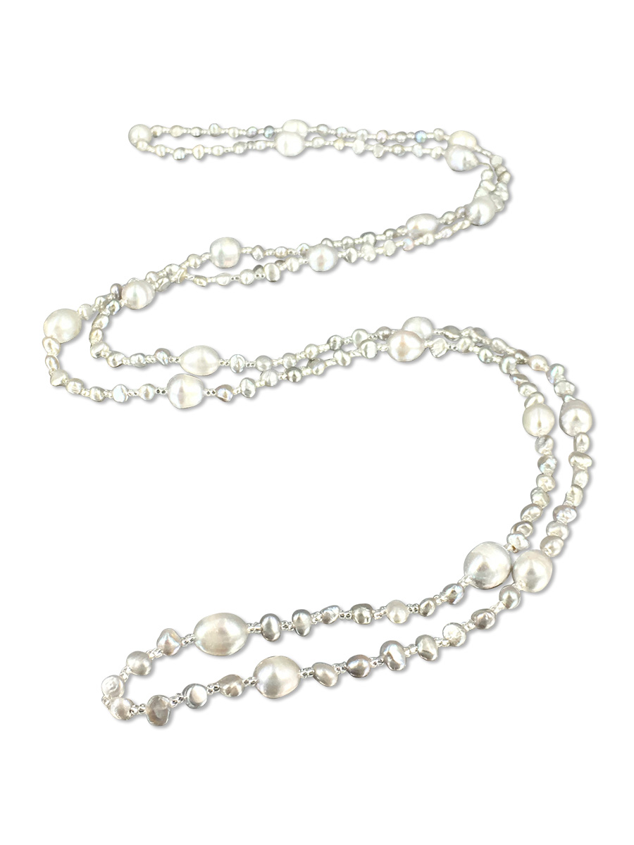 PACIFIC PEARLS SULU SEA COLLECTION Silver-Gray Versatile Double Strand Pearl Necklace