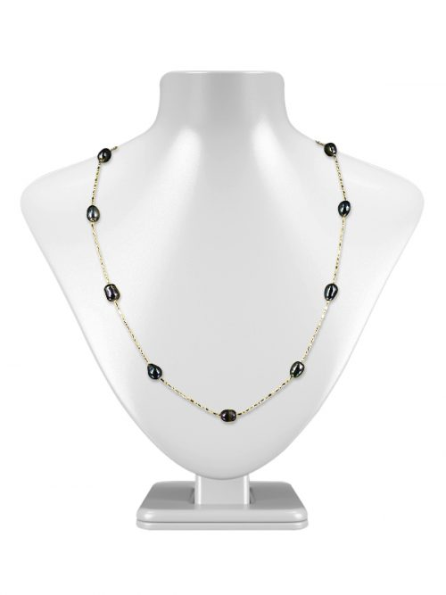 TERAINA COVE COLLECTION 6-7MM BLACK TIN CUP PEARL NECKLACE