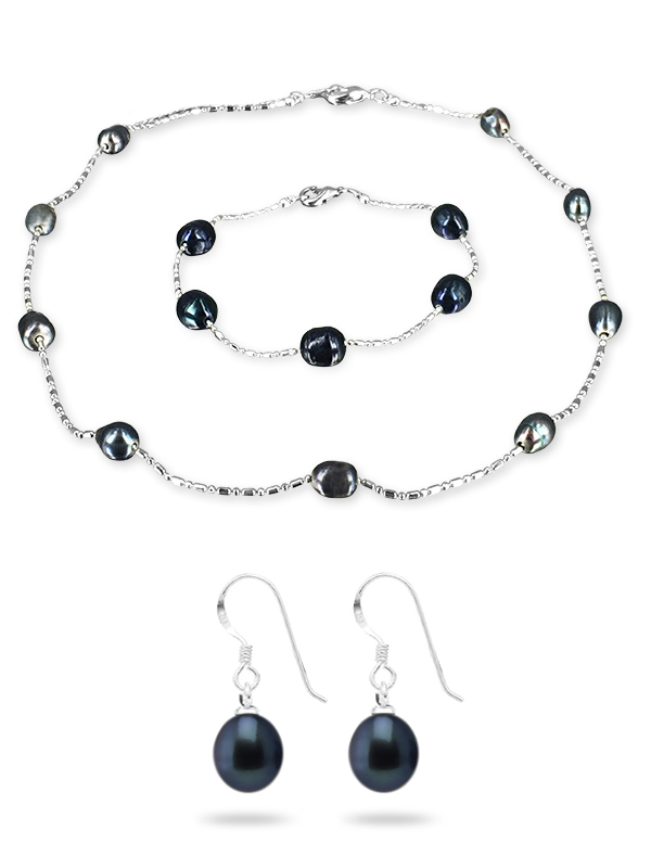 PACIFIC PEARLS TERAINA COVE COLLECTION Black 6-7mm Pearl Necklace, Bracelet, and Earring Set