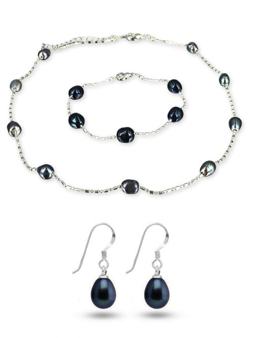 TERAINA COVE COLLECTION Black 6-7mm Pearl Necklace, Bracelet and Earring Set