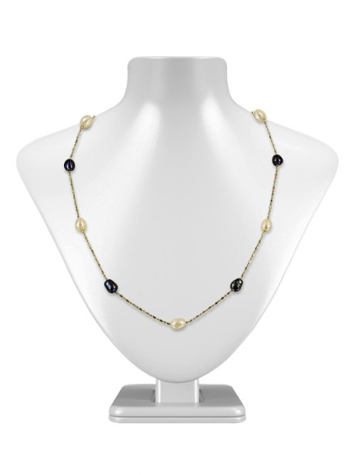PACIFIC PEARLS TERAINA COVE COLLECTION Black and White 6-7mm Pearl Necklace