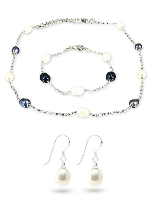 TERAINA COVE COLLECTION Black and White 6-7mm Pearl Necklace, Bracelet and Earring Set