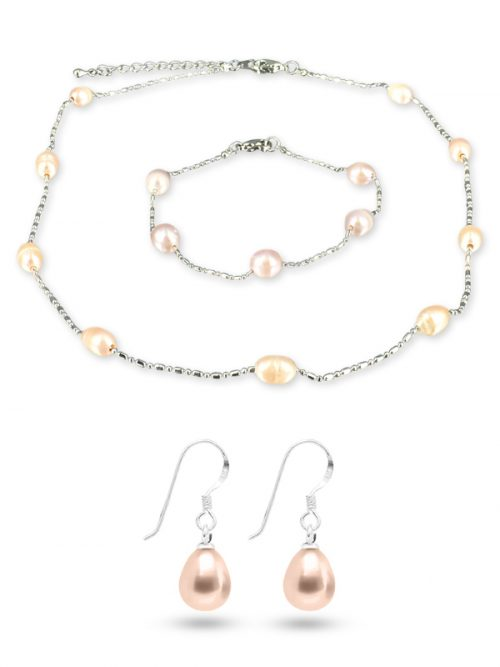 TERAINA COVE COLLECTION Pink 6-7mm Pearl Necklace, Bracelet and Earring Set