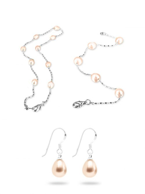PACIFIC PEARLS TERAINA COVE COLLECTION Pink 6-7mm Pearl Necklace, Bracelet, and Earring Set