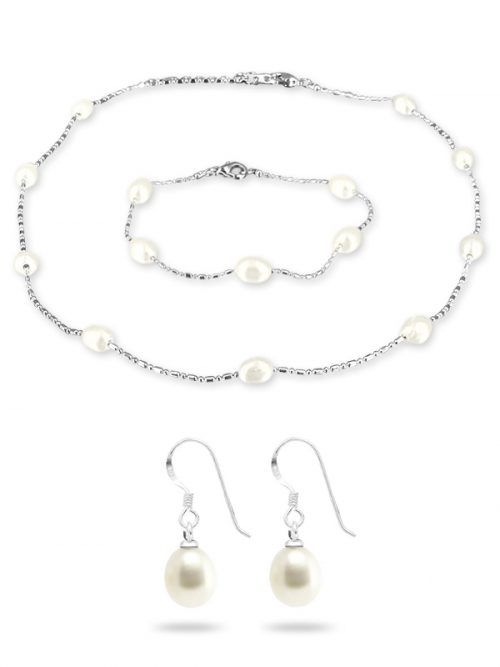 PACIFIC PEARLS TERAINA COVE COLLECTION White 6-7mm Pearl Necklace, Bracelet, and Earring Set