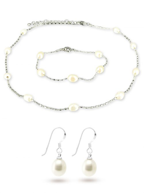 TERAINA COVE COLLECTION White 6-7mm Pearl Necklace, Bracelet and Earring Set