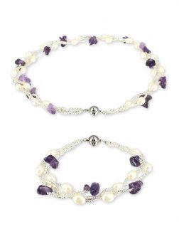 PACIFIC PEARLS TREASURE ISLAND COLLECTION Amethyst and Pearl Versatile Necklace and Bracelet Set