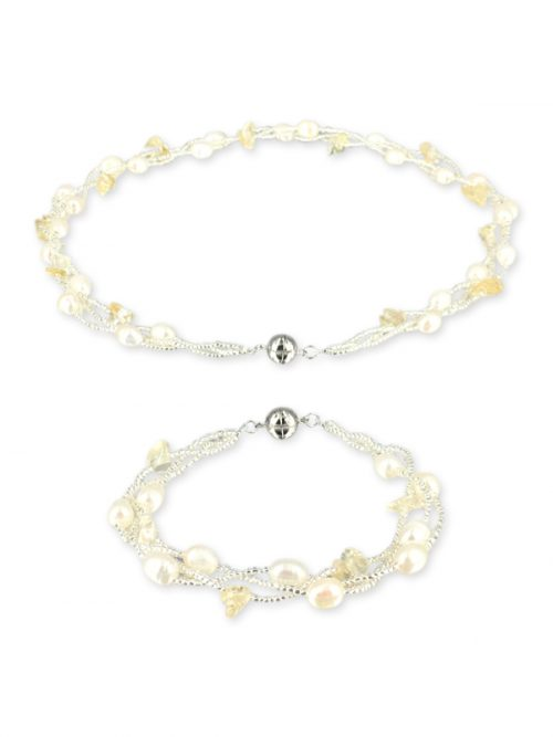 PACIFIC PEARLS TREASURE ISLAND COLLECTION Citrine and Pearl Versatile Necklace and Bracelet Set