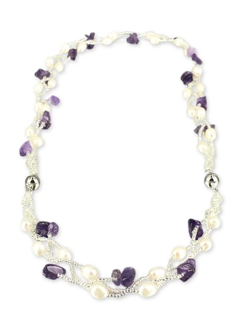 TREASURE ISLAND COLLECTION Pearl and Amethyst Versatile Necklace and Bracelet Set