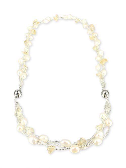 TREASURE ISLAND COLLECTION Pearl and Citrine Versatile Necklace and Bracelet Set