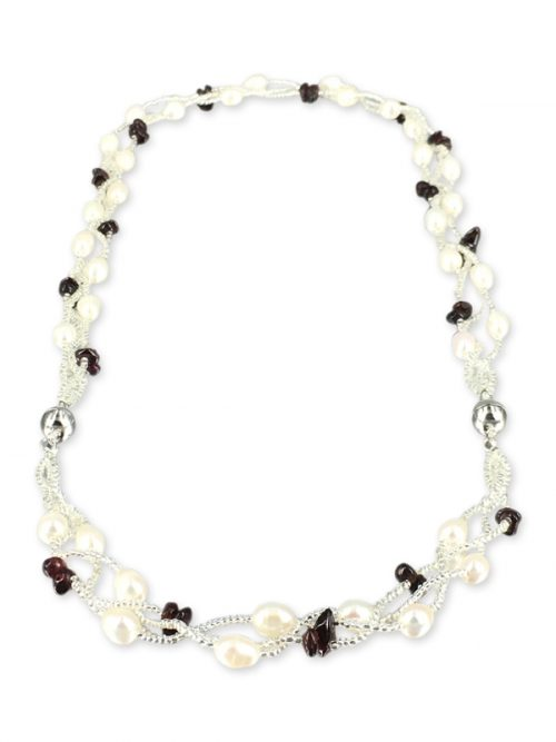 TREASURE ISLAND COLLECTION Pearl and Garnet Versatile Necklace and Bracelet Set