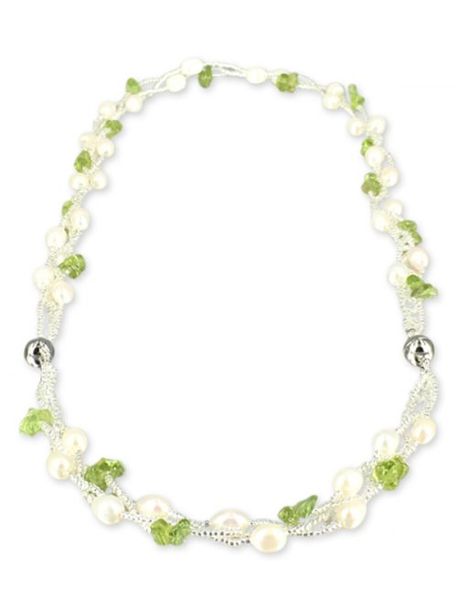 TREASURE ISLAND COLLECTION Pearl and Peridot Versatile Necklace and Bracelet Set