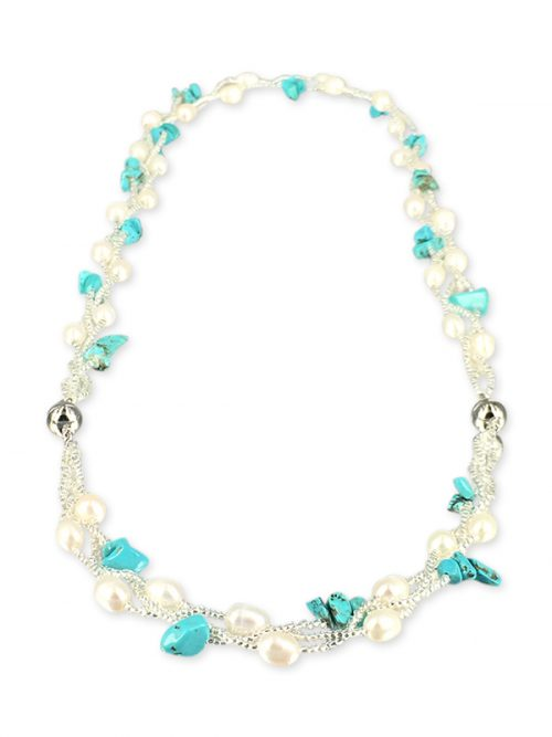 TREASURE ISLAND COLLECTION Pearl and Turquoise Versatile Necklace and Bracelet Set